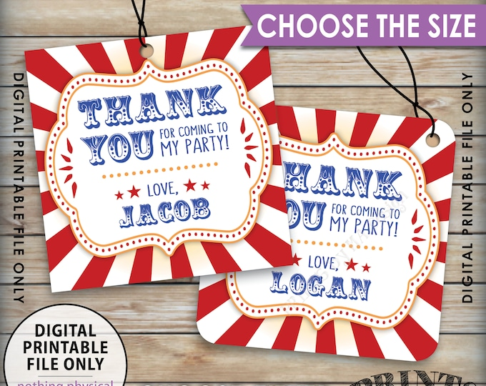 """Birthday Thank You Tags, Carnival Themed Party, Circus Themed, Carnival Birthday, Circus Birthday, Choose Tag Size, PRINTABLE 8.5x11"""" Sheet"""
