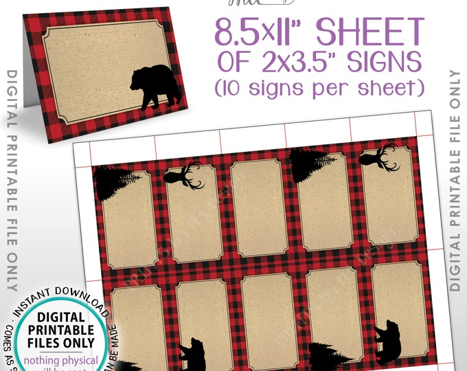 "Lumberjack Labels, Red Checker Buffalo Plaid Food Labels, Buffet Cards, Table Tent Menus, Bear Deer Trees, PRINTABLE 8.5x11"" Sheet <ID>"
