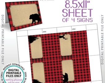 "Lumberjack Theme Labels, Red Checker Buffalo Plaid Table Tent Menu Labels, Food Labels Buffet Cards, PRINTABLE 8.5x11"" Instant Download"