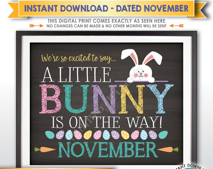 Easter Pregnancy Announcement, So Excited A Little Bunny is on the Way in NOVEMBER dated PRINTABLE Chalkboard Style Baby Reveal Sign <ID>