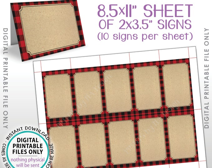 "Lumberjack Theme Labels, Red Checker Buffalo Plaid Food Labels Buffet Cards, Table Tent Menu Labels, PRINTABLE 8.5x11"" Instant Download"