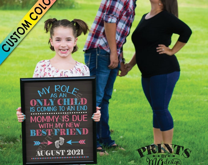 "Baby Number 2 Pregnancy Announcement, Role as an Only Child is Coming to an End, PRINTABLE 8x10/16x20"" Chalkboard Style Baby #2 Reveal Sign"