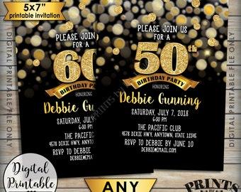 "Birthday Party Invitation, Black & Gold Birthday Invite, 30th 40th 50th 60th 70th Birthday Invite, Gold Glitter 5x7"" Digital Printable File"