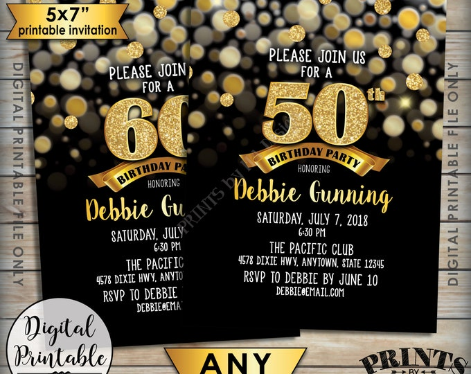 "Birthday Party Invitation, Black & Gold Birthday Invite, 30th 40th 50th 60th 70th Birthday Invite, Gold Glitter 5x7"" Digital Printable File"
