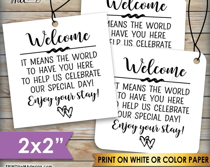 """Wedding Tags, Destination Wedding Welcome Bag Tags, Gift Cards, Out of Town Guests Hotel Gift, 2"""" squares on 8.5x11"""" PRINTABLE Sheet <ID>"""