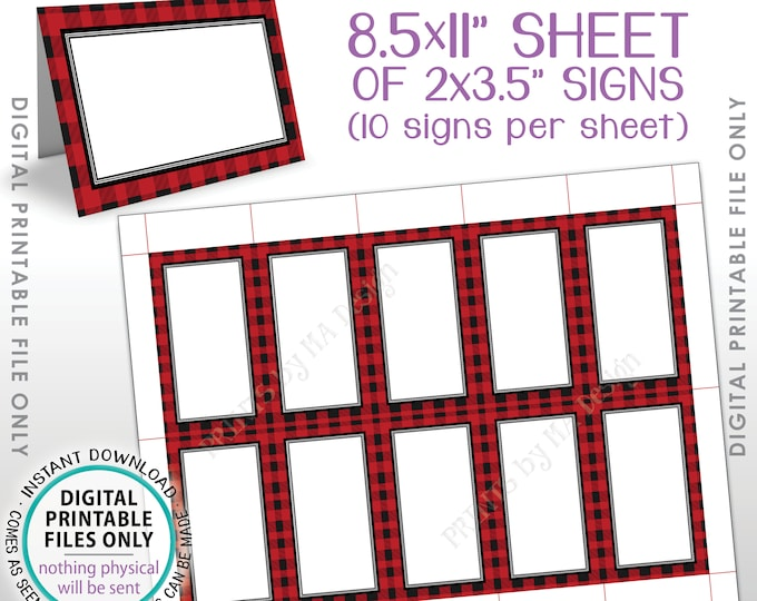 """Lumberjack Theme Labels, Buffalo Plaid Red Checker Table Tent Food Labels Buffet Cards Menu Labels, PRINTABLE 8.5x11"""" Instant Download Signs"""