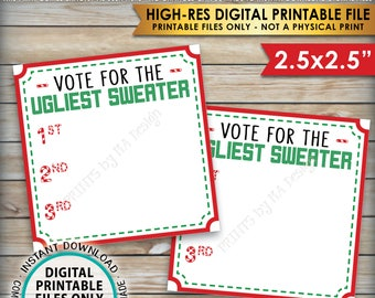"Ugly Christmas Sweater Voting Ballots, Vote for the Ugliest Christmas Sweater Party, Tacky Sweater, Instant Download PRINTABLE 2.5"" Ballots"