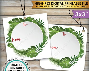 """Christmas Gift Tags, Christmas Gift Labels, DIY Xmas Labels, Tropical Palm Tags, PRINTABLE 3x3"""" tags on 8.5x11"""" Instant Download Labels"""