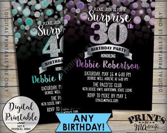 """Surprise Birthday Party Invitation Black & Color Glitter Invite, Custom Glitter Color, Any Birthday Invite, 5x7"""" Digital Printable File"""