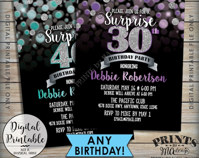 "Surprise Birthday Party Invitation Black & Color Glitter Invite, Any Birthday Invite, Silver Glitter, Custom Color PRINTABLE 5x7"" Invitation"