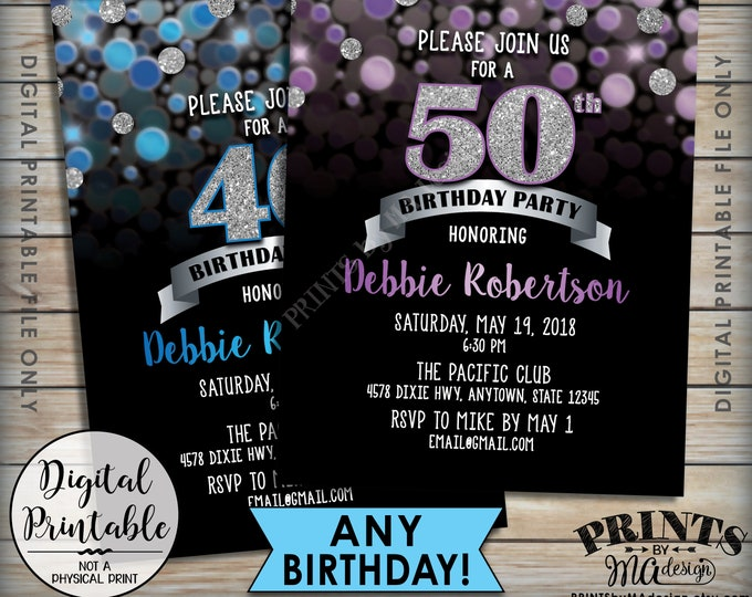 "Birthday Party Invitation, Custom Glitter Color, Any Birthday Invite, Silver and Black & Color Glitter Invite, 5x7"" Digital Printable File"