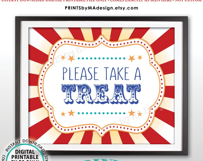 "Carnival Party Take a Treat Sign, Carnival Favors, Circus Favors, Treats, Candy Bar, Carnival Birthday, PRINTABLE 8x10/16x20"" Sign <ID>"