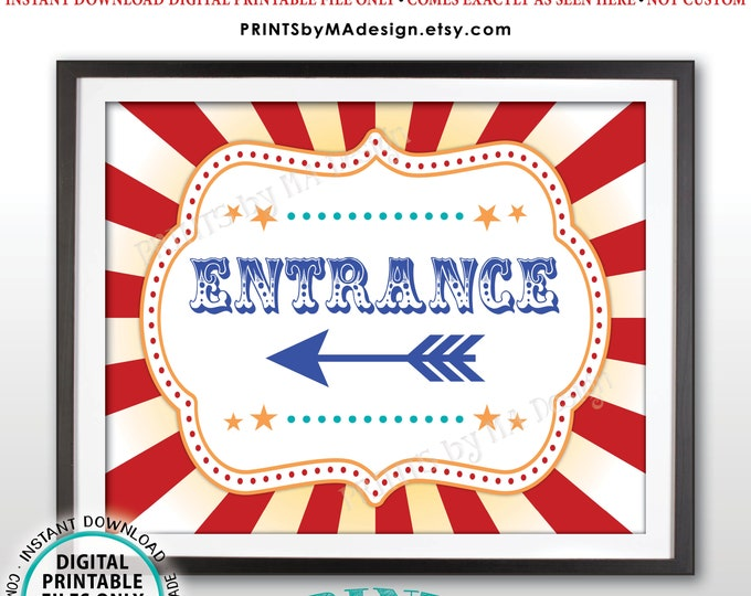"""Circus Entrance Sign, Arrow Points LEFT, Carnival Entrance to the Left, PRINTABLE 8x10/16x20"""" Direction Sign <ID>"""