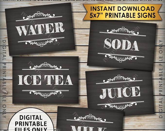 "Beverage Station Soft Drink Signs, Soda Juice Water Ice Tea, Wedding Shower, Graduation, 5 Chalkboard Style PRINTABLE 5x7"" Drink Signs <ID>"