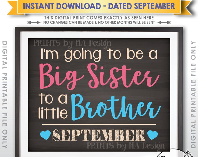 It's a Boy Gender Reveal Pregnancy Announcement I'm Going to be a Big Sister to a Little Brother in SEPTEMBER Chalkboard Style PRINTABLE<ID>