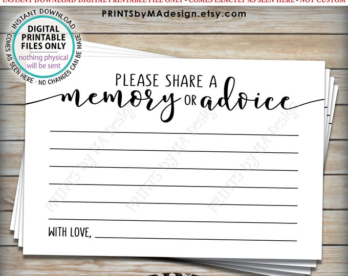 "Please Share a Memory or Advice Card, Retirement Party, Bon Voyage, Graduation Party Advice, 4x6"" Digital PRINTABLE File <ID>"
