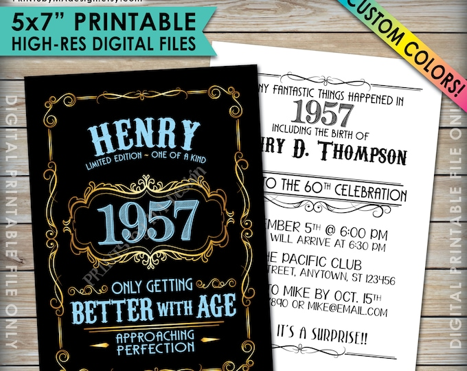 "Vintage Birthday Invitation, Aged to Perfection Birthday Invite, Better with Age, Whiskey Theme Party, Custom Color 5x7"" PRINTABLE Files"