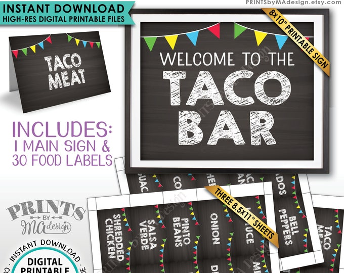 "Taco Bar Sign and Labels, Taco Buffet, Build Your Own Taco Station, Mexican Bar, Chalkboard Style PRINTABLE 8x10"" Sign & 2x3.5"" Labels <ID>"