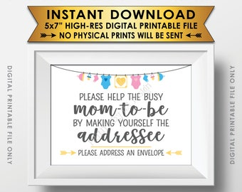 """Baby Shower Address an Envelope Sign, Help the Mom-to-Be Address an Envelope Addressee, Neutral Baby Shower Decor, PRINTABLE 5x7"""" Sign <ID>"""