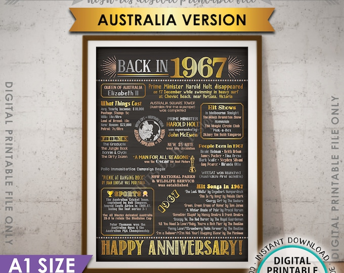 1967 Anniversary Poster, AUSTRALIA Back in 1967, Married in 1967 Flashback Anniversary Party, Color, PRINTABLE A1 Poster