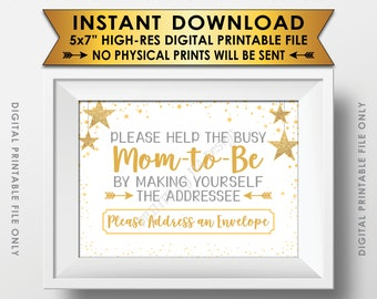 "Address an Envelope Baby Shower Sign, Addressee Thank You Card Envelope Sign Baby Shower Twinkle Stars Gold Glitter PRINTABLE 5x7"" Sign <ID>"
