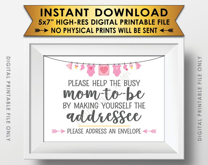 """Baby Shower Address an Envelope Sign, Help the Mom-to-Be Address an Envelope Addressee, Pink Baby Shower Decor, PRINTABLE 5x7"""" Sign <ID>"""