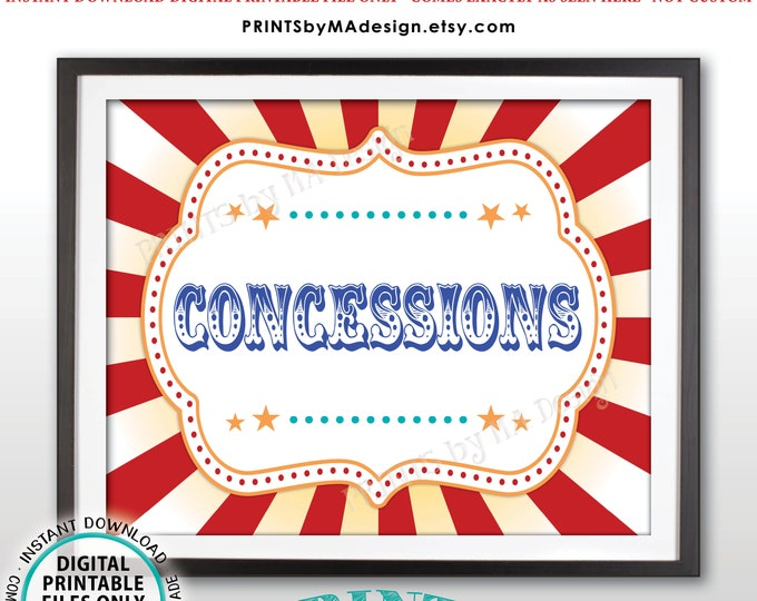 """Carnival Party Concessions Sign, Concession Stand Carnival Sign, Circus Food, Snacks, Treats, Candy, Drinks, PRINTABLE 8x10/16x20"""" Sign <ID>"""