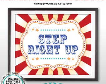 """Step Right Up Carnival Games Sign, Carnival Party Sign, Circus Games, Circus Birthday Party Activities, PRINTABLE 8x10/16x20"""" Sign <ID>"""