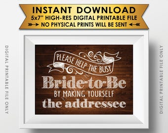 """Address Envelope Bridal Shower Sign Help the Bride by Addressing an Envelope Addresee, 5x7"""" Rustic Wood Style Printable Instant Download"""