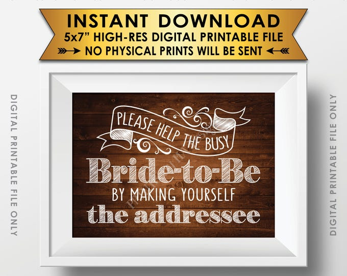 "Address Envelope Bridal Shower Sign Help the Bride by Addressing an Envelope Addresee, 5x7"" Rustic Wood Style Printable Instant Download"