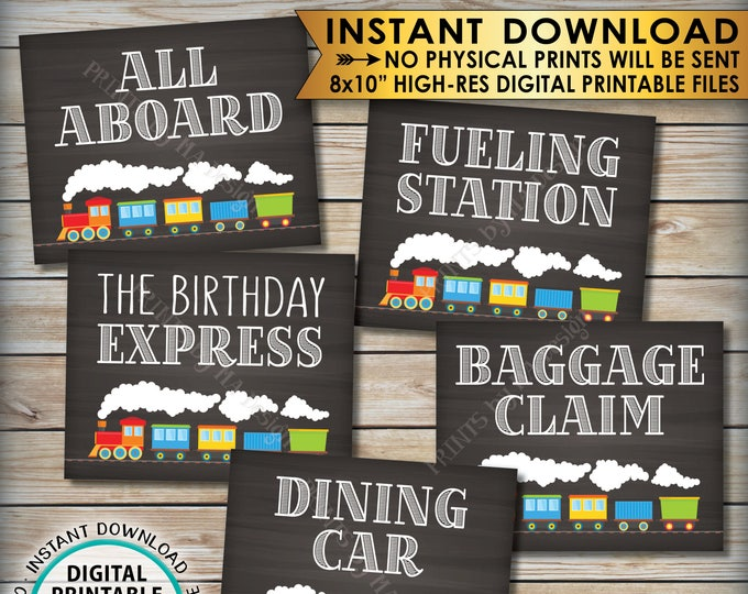 """Train Birthday Signs, Train Theme Birthday, All Aboard the Birthday Express Dining Car Fueling Station, PRINTABLE 8x10"""" Instant Downloads"""