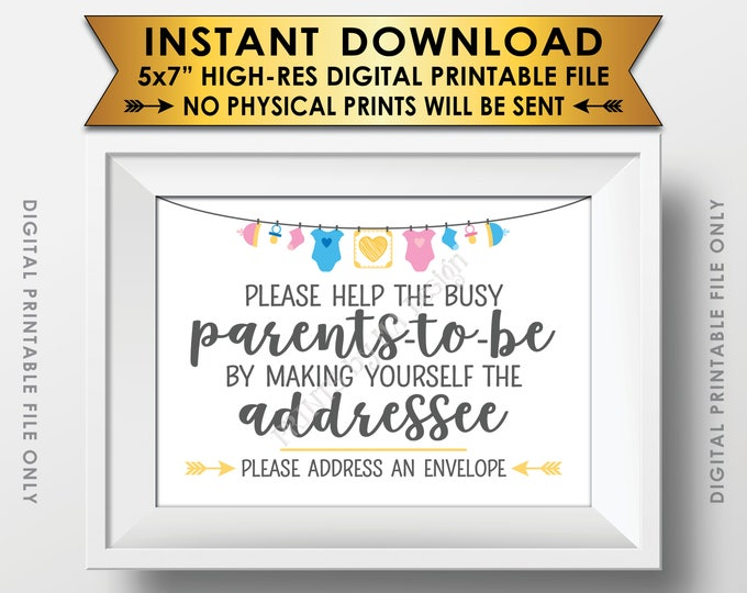 """Baby Shower Address an Envelope Sign, Help the Parents-to-Be Address an Envelope, Neutral Baby Shower Decoration, PRINTABLE 5x7"""" Sign <ID>"""
