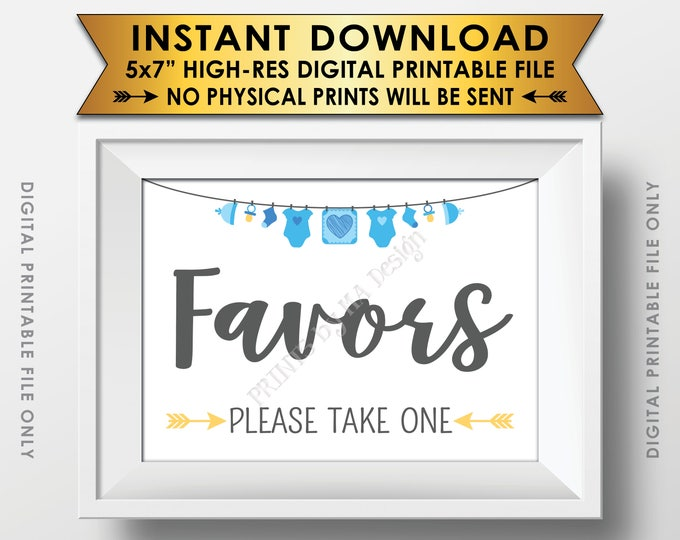 """Favors Sign, Baby Shower Favors Please Take One Sign, Thank You Take a Favor Sign, Blue 5x7"""" Printable Instant Download Baby Shower Sign"""