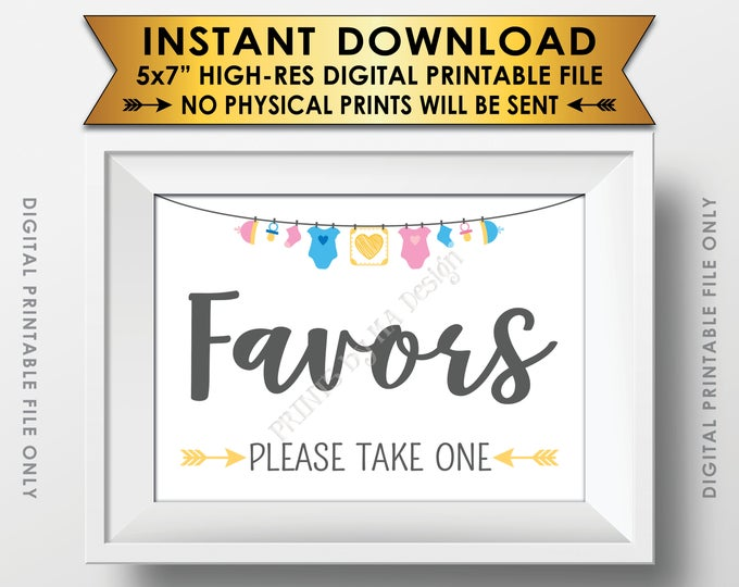 "Favors Sign, Baby Shower Favors Please Take One, Thank You Take a Favor, Gender Neutral 5x7"" Printable Instant Download Baby Shower Sign"