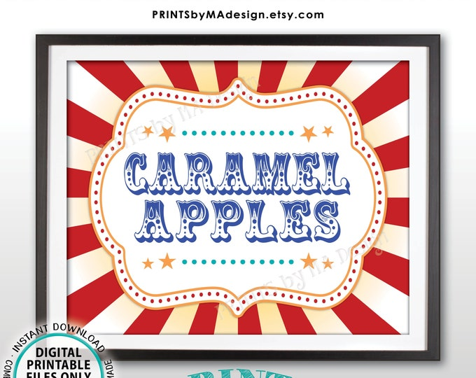 """Carnival Caramel Apples Sign, Circus Caramel Apple Station, Birthday Party Sweet Treat Sign, PRINTABLE 8x10/16x20"""" Carnival Food Sign <ID>"""