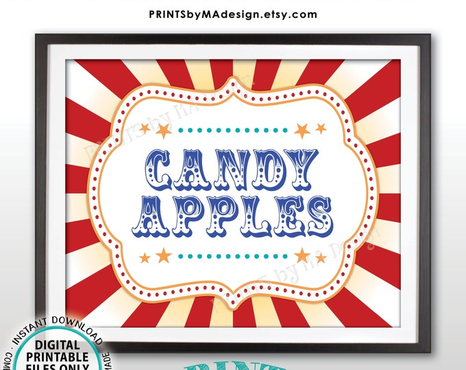 """Carnival Candy Apples Sign, Circus Candied Apple Station, Carnival Birthday Party Sweet Treat, PRINTABLE 8x10/16x20"""" Carnival Food Sign <ID>"""