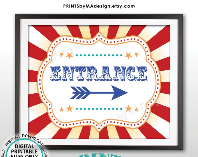 """Circus Entrance Sign, Arrow Points RIGHT, Carnival Entrance to the Right, PRINTABLE 8x10/16x20"""" Direction Sign <ID>"""