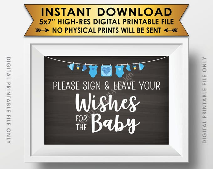 """Wishes for Baby Sign, Please Sign & Leave your Wishes for the Baby Shower Sign, Blue Clothesline, Chalkboard Style PRINTABLE 5x7"""" <ID>"""