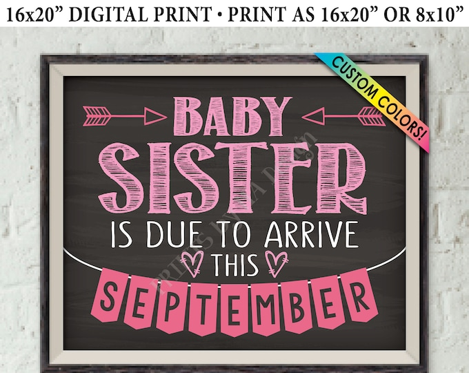 """It's a Girl Gender Reveal, Getting a Baby Sister Pregnancy Announcement, Baby Sis is Due, Custom Chalkboard Style PRINTABLE 8x10/16x20"""" Sign"""