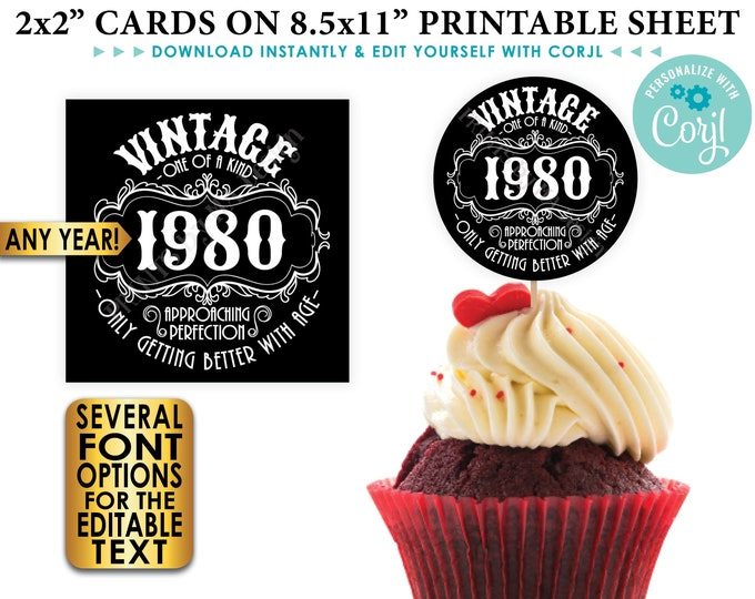"""Vintage Birthday Sign, Better with Age, Liquor Theme B-day Favors, Cupcake Topper, Candy Gift, Any Year, PRINTABLE 8.5x11"""" Sheet of 2"""" Cards"""
