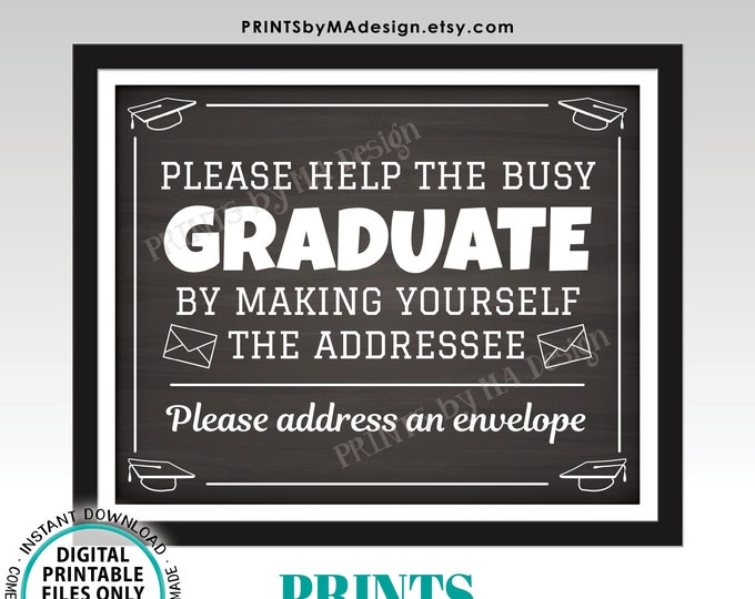 "Address Envelope Sign, Address Your Own Envelope, Thank You Card, PRINTABLE 8x10/16x20"" Chalkboard Style Graduation Party Decorations <ID>"
