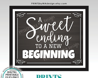 """A Sweet Ending to a New Beginning Sign, Grad Party Food Sign, PRINTABLE 8x10/16x20"""" Chalkboard Style Sign, Graduation Party Decoration <ID>"""