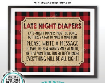 "Late Night Diaper Sign, Lumberjack Late-Night Diapers Sign the Diaper Baby Shower Game, Buffalo Plaid, Checker, PRINTABLE 8x10"" Sign <ID>"