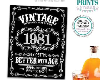 "1981 Birthday Sign, Better with Age Vintage Birthday Poster, Whiskey/Liquor Theme, Black & White PRINTABLE 8x10/16x20"" 1981 Sign <ID>"