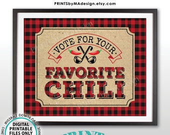 """Vote for Your Favorite Chili Sign, Red & Black Checker Lumberjack PRINTABLE 8x10/16x20"""" Chili Voting Sign, Chili Cook-Off Sign <ID>"""