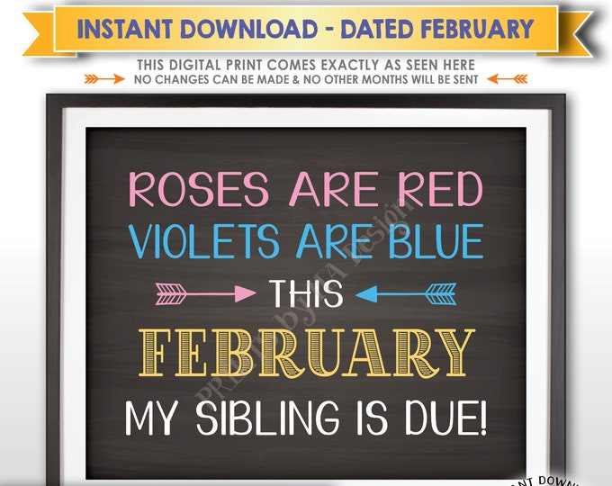 Pregnancy Announcement, Roses are Red Violets are Blue My Sibling is due FEBRUARY dated Chalkboard Style PRINTABLE Baby Reveal Sign <ID>