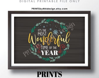 """It's the Most Wonderful Time of the Year Wall Art, Christmas Decoration, Xmas Decor, PRINTABLE 24x36"""" Chalkboard Style Sign <ID>"""