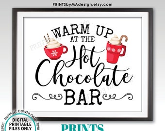 """Warm Up at the Hot Chocolate Bar Sign, Holiday Party Hot Cocoa, Red Mugs, Snowflakes, PRINTABLE 8x10/16x20"""" Sign <Instant Download>"""