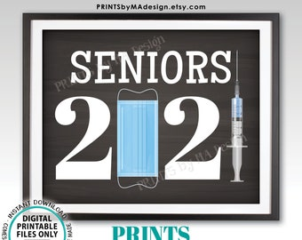 """Seniors 2021 Sign, Class of 2021, College or High School Graduation, Mask Syringe Vaccine, PRINTABLE 8x10/16x20"""" Chalkboard Style Sign <ID>"""
