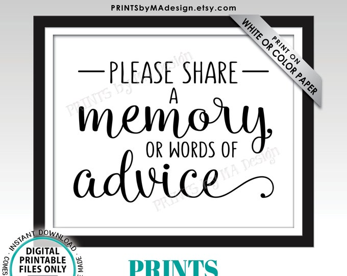 "Share a Memory or Words of Advice Sign, Share Memories, Write a Memory, Graduation or Retirement Party, PRINTABLE 8x10"" Sign <ID>"